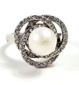 Joseph Esposito ESPO Sterling CZ and Pearl Ring Size 11 (lot#14)