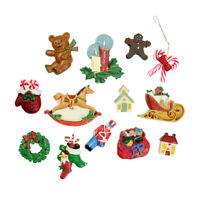 13 Piece Flat Back Miniature Resin Christmas Figures Shapes Holiday Ornament Set