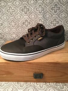 VANS Brown Leather & Fabric Textile Shoes 7 1/2 Mens Sneaker Casual Shoes #391