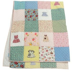Pottery Barn Patchwork Quilt Land of Nod Doll Dress Applique 100% Cotton Twin