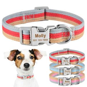Polyester Personalized Dog Collar Custom Engraevd Pet Dog Name Adjustable Collar
