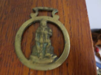VINTAGE MAN WITH SWORD HORSE BRASS