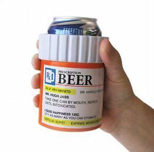 PRESCRIPTION KOOZIE Beer Can Bottle - Insulated Foam Pill Cooler Bottle Holder