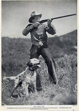 AMERICAN RADIO STAR & HIS ENGLISH SETTER SHOOTING ORIGINAL 1934 DOG PRINT PAGE