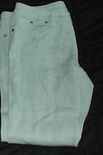 Juniors womens sz 17 Almost Famous Skinny Jeans mint green sparkle