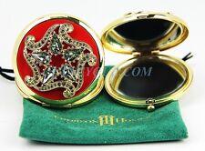 THORSON HOSIER COMPACT PURSE MIRROR ROUND RED SWAROVSKI CRYSTAL NEW USA MADE