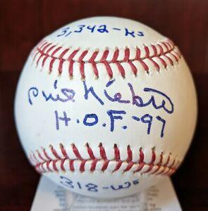 Phil Niekro HOF 97 318 W 3342 Ks Signed Autographed OML Baseball BAS Cert W Case