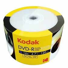 100 Kodak DVD-R 16X White Inkjet HUB Printable Blank Media Disc 4.7GB