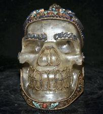 "7.2""Old Tibet Buddhism Crystal Filigree Inlay Turquoise Skull Buddha Head Statue"