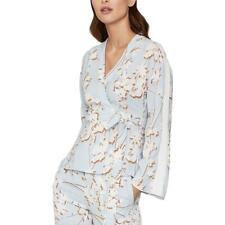 BCBGMAXAZRIA Womens Blue Floral Print Tie Front Wrap Top Blouse S BHFO 5403