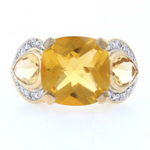 Sterling Simulated Citrine & Cubic Zirconia Ring - 925 Gold Plated 7.95ctw Sz 7