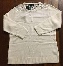 NWT $98 Ralph Lauren Women's Crewneck Lace-Trim Sweater, Pearl Ivory, Size L