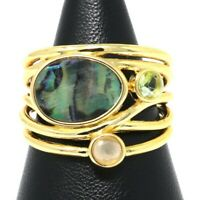 Vintage Antique Abalone Ring 14k Yellow Gold Plated Women Wedding Jewelry Gift