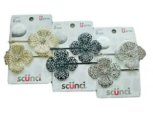 Lot of 3 Scunci Flower Bobby Hair Pins Clips Gold Silver Black Colors 6 Total