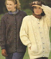 "Ladies Aran Knitting Pattern Larger sizes Jackets finished sizes 41-53""  505"