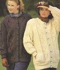 "Ladies Aran Knitting Pattern Larger sizes Jackets finished sizes 32-42""  505"
