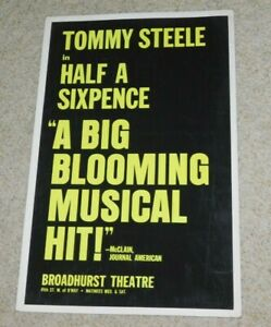 VINTAGE 1980S TOMMY STEELE HALF A SIXPENCE BROADHURST THEATER WINDOW  CARD