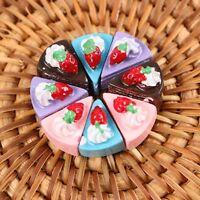 10pcs Harz Dreieck Kuchen Spielzeug Miniatur Puppenhaus DIY Handgefertigte Essen