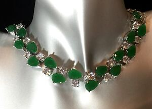 18k White Gold GF Necklace made w Swarovski Crystal Green Emerald Stone Gorgeous