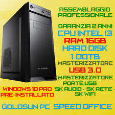 COMPUTER ASSEMBLATO PC FISSO INTEL Core i3 RAM 16GB HDD 1TB DVD-RW USB3.0 WIN10
