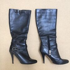 Ladies boots, black leather, stiletto heel, size 7, excellent condition