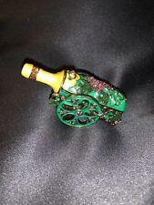 Alexander Kalifano Green Champagne Bottle Trinket w/Swarovski Crystals Unusual