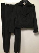 Women Pin Striped Pant Suit Size 14 Slacks Size 12 Jacket Black Spiegel 131