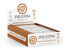 NO COW Protein Bar, Peanut Butter Chocolate Chip, 12 Bars | dairy free