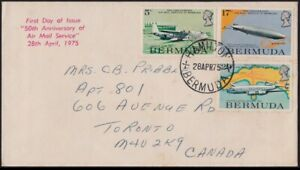 /BERMUDA 1975 Airmail Service 50th Anv. FDC - addressed @JD3045