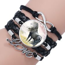 Horse Lover Leather Infinity Black Wrap Bracelet with Beautiful Horse