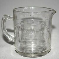 Vintage ADVERTISING FLUFFO SHORTENING MEASURING CUP Glass 1 CUP Single Spout