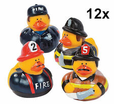 12 Fire Fighter Rubber Ducks - Fireman Retirement Party Favor Duckies Ducky NEW