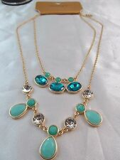 NWT MONET STUNNING BLUE & CRYSTAL STONES DOUBLE STRAND STATEMENT NECKLACE