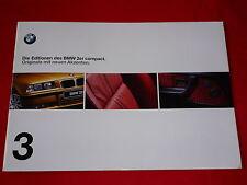 """BMW 3er E36 compact """"Editionen"""" Sondermodelle Prospektmappe von 2/1999"""