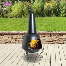 Outsunny Steel Outdoor Chiminea Fire Pit Brazier Patio Heater Chimney Log Burner