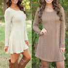 Sexy Womens Long Sleeve Knitwear Ladies Knitted Sweater Jumper Winter Dress Tops