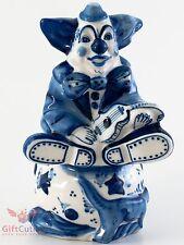 Gzhel Porcelain Clown with Guitar Figurine handmade & painted souvenir