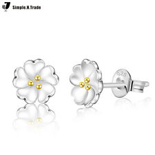 Women Fashion 925 Sterling Silver Plated Crystal Ear Stud Silver Earring Jewelry