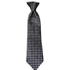 """Mark Jason Boys' 100% Silk Checks Clip-on Neck Tie Blue Gray Red 2 1/2"""" x10 1/2"""""""