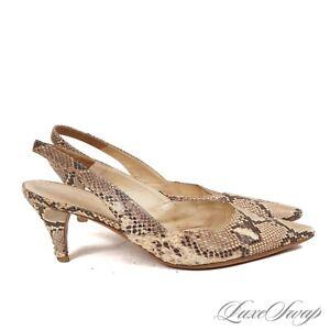 Prada Made in Italy Natural Genuine Python Snakeskin Roccia Slingback Shoes 39.5