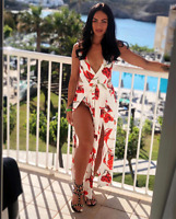 Maxi Dress Ladies Floral Halter Open Back Plunge Low Cut Womens Summer Sexy UK