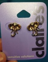 One Pair Of Claire's Sensitive Solutions Gold tone Elephant Head Earrings New!