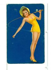 """Single Vintage Playing Card Pin Up """"Fishing"""" Blue Bkgd"""