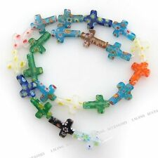 1x 110563  Assorted Colour Cross Millefiori Glass Loose Beads Findings 19mm