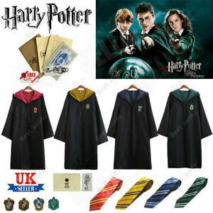 Harry Potter Gryffindor Ravenclaw Slytherin Hufflepuff Robe Cloak Tie Cosplay