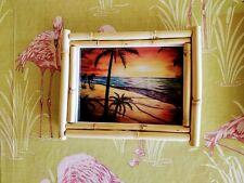 Bamboo photo frame picture wall hanging tiki tropical hawaiian home decor summer