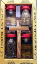 Holy water, earth,oil and incense w/ Olivewood cross w/Red Jerusalem Cross Pin