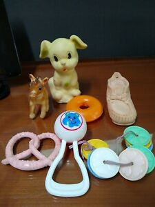 Vintage Lot of 7 pc  Rubber, Plastic, Toys. Squeaky Shoe by Alan Jay.