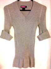 SAY WHAT? - Soft Gray Ribbed Knit Sweater - Junior's Size: LARGE