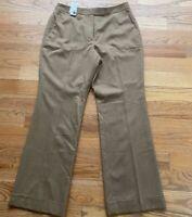 Brooks Brothers 346 Womens Dress Pants Tan Wool Flat Front Lined Sz 12 NEW $119
